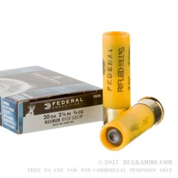 "250 Rounds of 20ga Ammo by Federal Power Shok - 2-3/4"" 3/4 ounce Rifled Slug"