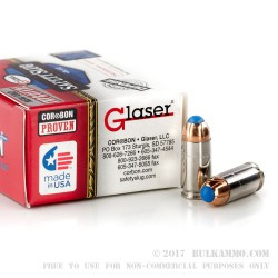 20 Rounds of 9mm + P Ammo by Glaser Safety Slug - 80gr Pre-Fragmented HP