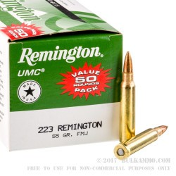 50 Rounds of .223 Ammo by Remington - 55gr MC
