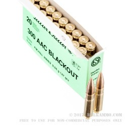 20 Rounds of .300 AAC Blackout Ammo by Sellier & Bellot - 147gr FMJ