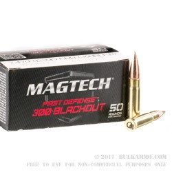 500 Rounds of 300 AAC Blackout Ammo by Magtech First Defense - 123gr FMJ