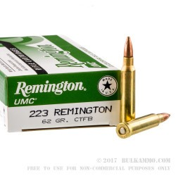 20 Rounds of .223 Ammo by Remington - 62gr CTFB