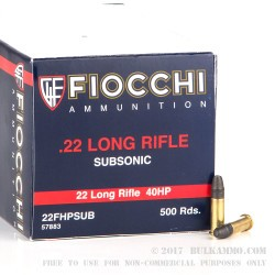 500  Rounds of .22 LR Ammo by Fiocchi - 40gr HP