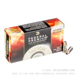 50 Rounds of 9mm Ammo by Federal LE Hydra Shok - 147gr JHP