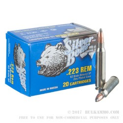 500  Rounds of .223 Ammo by Silver Bear - 62gr SP