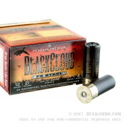 """25 Rounds of 12ga Ammo by Federal Blackcloud - 2-3/4"""" 1 ounce #4 shot"""