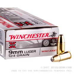 50 Rounds of 9mm Ammo by Winchester - 124gr BEB