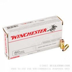 50 Rounds of .40 S&W Ammo by Winchester - 180gr JHP