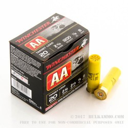 25 Rounds of 20ga Ammo by Winchester - 7/8 ounce #8 shot