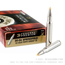 20 Rounds of 30-06 Springfield Ammo by Federal Vital-Shok - 165gr Trophy Bonded Tip