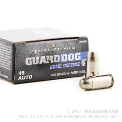 20 Rounds of .45 ACP Ammo by Federal  Guard Dog - 165gr EFMJ