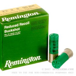 "250 Rounds of 12ga 2-3/4"" Ammo by Remington LE Reduced Recoil - 8 Pellet 00 Buck"
