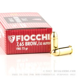 1000 Rounds of .32 ACP Ammo by Fiocchi - 73gr FMJ