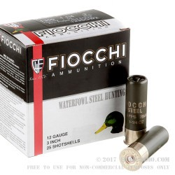 "25 Rounds of 12ga Ammo by Fiocchi - 3"" 1 1/4 ounce #2 Steel Shot"