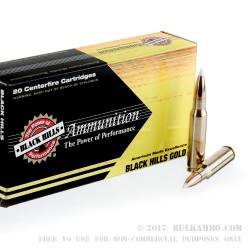 20 Rounds of .308 Win Ammo by Black Hills Gold Ammunition - 180gr Polymer Tipped