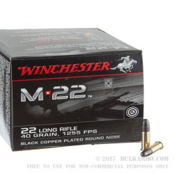 500 Rounds of .22 LR Ammo by Winchester M-22 - 40gr CPRN