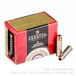 20 Rounds of .38 Spl +P Ammo by Federal Premium - 129gr Hydra-Shok JHP