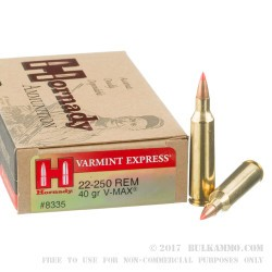 20 Rounds of .22-250 Rem Ammo by Hornady - 40gr V-Max