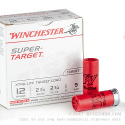 250 Rounds of 12ga Ammo by Winchester - 1 ounce #9 shot