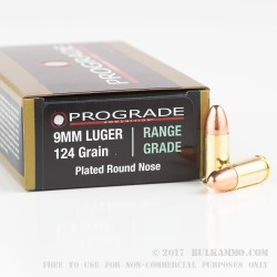 500  Rounds of 9mm Ammo by ProGrade Ammunition - 124gr CPRN
