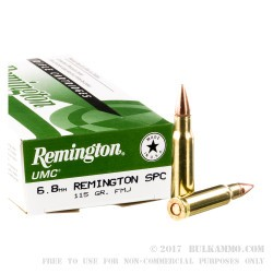 20 Rounds of 6.8 SPC Ammo by Remington - 115gr MC