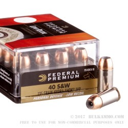 20 Rounds of .40 S&W Ammo by Federal - 135gr JHP