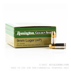 500  Rounds of 9mm Ammo by Remington - 124gr JHP