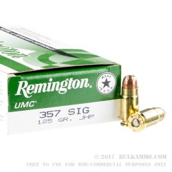 50 Rounds of .357 SIG Ammo by Remington - 125gr JHP