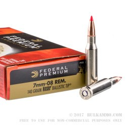 20 Rounds of 7mm-08 Ammo by Federal Premium - 140gr Nosler Ballistic Tip