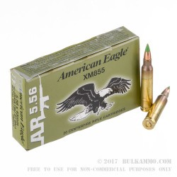 500  Rounds of 5.56x45 Ammo by Federal American Eagle - 62gr FMJ