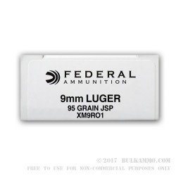 50 Rounds of 9mm Ammo by Federal - 95gr JSP