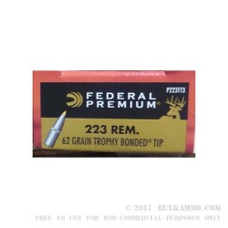 20 Rounds of .223 Ammo by Federal Vital-Shok - 62gr Trophy Bonded Tip
