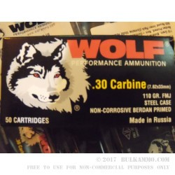 50 Rounds of .30 Carbine Ammo by Wolf - 110gr FMJ