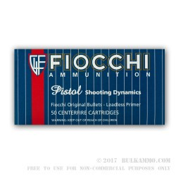 50 Rounds of 9mm Leadless Ammo by Fiocchi - 123gr FMJTC