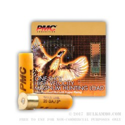 25 Rounds of 20ga Ammo by PMC -  #7 1/2 shot