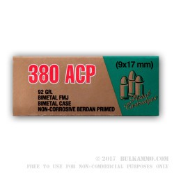 35 Rounds of .380 ACP Ammo by LVE - 92gr FMJ