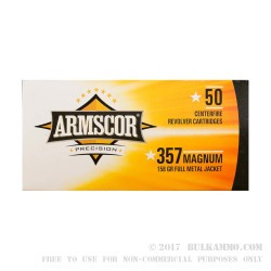 1000 Rounds of .357 Mag Ammo by Armscor - 158gr FMJ