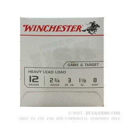 "25 Rounds of 12ga Ammo by Winchester USA - 2 3/4"" 1 1/8 ounce #8 shot"