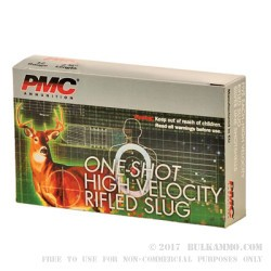 5 Rounds of 12ga Ammo by PMC - 1 ounce Rifled Slug