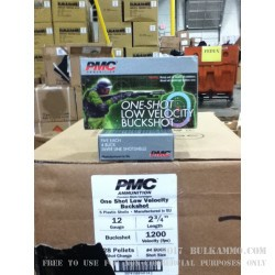 5 Rounds of Low Velocity 12ga Ammo by PMC -  #4 Buck