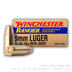 500  Rounds of 9mm Ammo by Winchester - 147gr FMJ