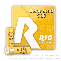 25 Rounds of 20ga Ammo by Rio Ammunition - 1 ounce #9 shot