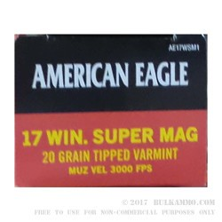 500 Rounds of .17 WSM Ammo by Federal American Eagle - 20gr Polymer Tipped