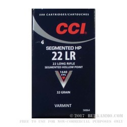 500  Rounds of .22 LR Ammo by CCI - 32 gr Segmented HP