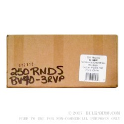250 Rounds of .40 S&W Ammo by BVAC - Remanufactured - 165gr PFP