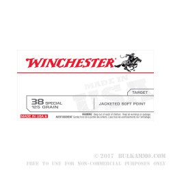 50 Rounds of .38 Spl Ammo by Winchester USA - 125gr JSP
