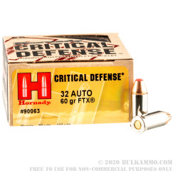 25 Rounds of .32 ACP Ammo by Hornady Critical Defense - 60gr FTX