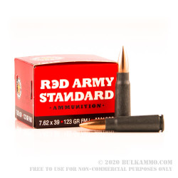 20 Rounds of 7.62x39mm Ammo by Red Army Standard - 123gr FMJ