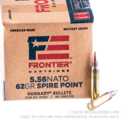 150 Rounds of 5.56x45 Ammo by Hornady Frontier - 62gr SP