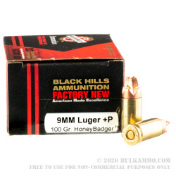 20 Rounds of 9mm +P Ammo by Black Hills Ammunition - 100gr HoneyBadger